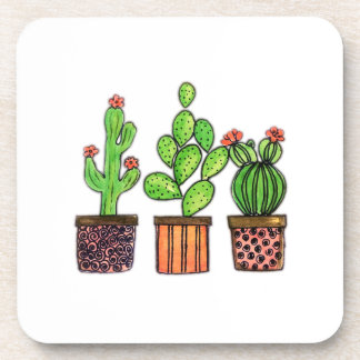 Cute Watercolor Cactus In Pots Coaster