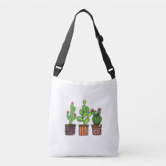 Cute Watercolor Cactus In Pots Crossbody Bag