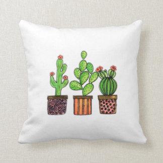 Cute Watercolor Cactus In Pots Cushion