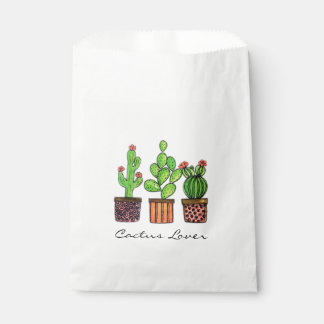 Cute Watercolor Cactus In Pots Favour Bags