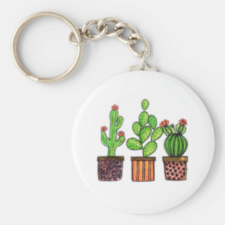 Cute Watercolor Cactus In Pots Key Ring