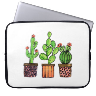 Cute Watercolor Cactus In Pots Laptop Sleeve