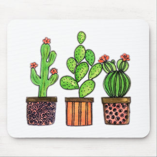 Cute Watercolor Cactus In Pots Mouse Mat
