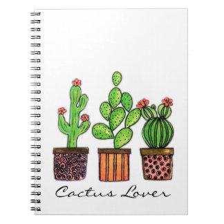 Cute Watercolor Cactus In Pots Notebook
