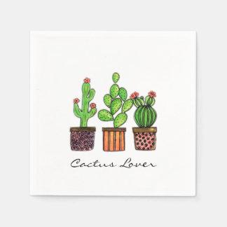 Cute Watercolor Cactus In Pots Paper Napkin