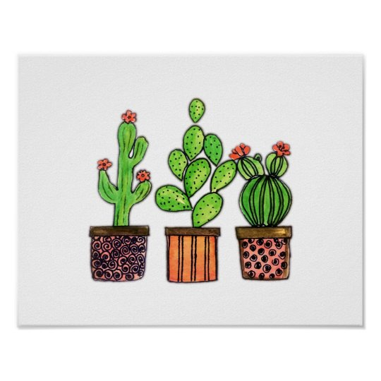 Cute Watercolor Cactus In Pots Poster