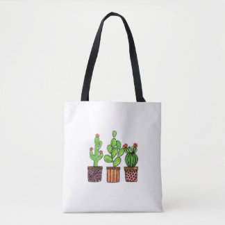 Cute Watercolor Cactus In Pots Tote Bag