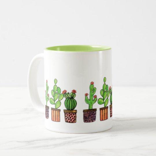 Cute Watercolor Cactus In Pots Two-Tone Coffee Mug