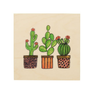 Cute Watercolor Cactus In Pots Wood Wall Decor