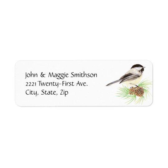 Cute Watercolor Chickadee Bird Pine Tree