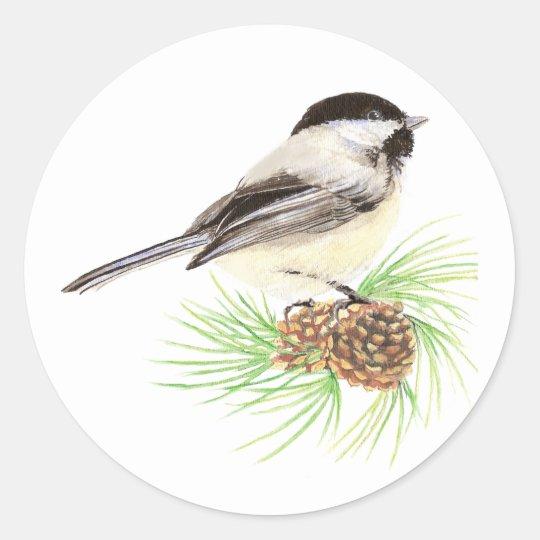 Cute Watercolor Chickadee Bird Pine Tree Classic Round