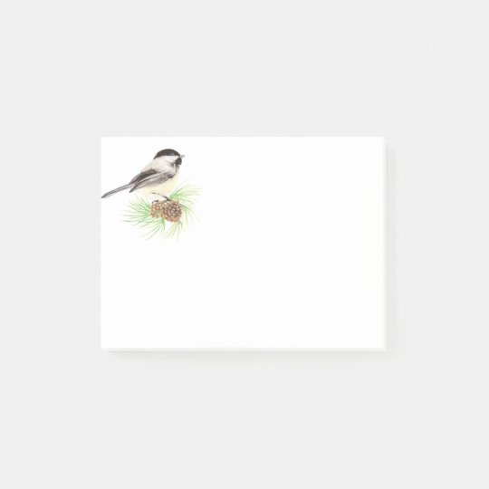 Cute Watercolor Chickadee Bird Pine Tree Post-it Notes