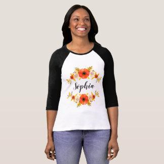 Cute Watercolor Coral Floral Wreath Custom Text T-Shirt
