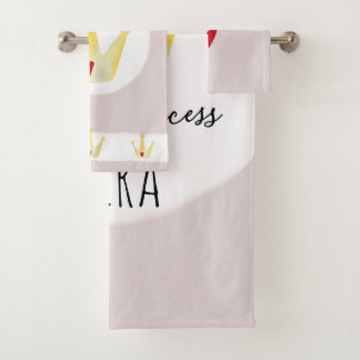 Cute Watercolor Crown Baby Girl Princess with Name Bath Towel Set