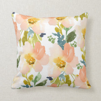 Cute Watercolor Floral Pattern Throw Pillow