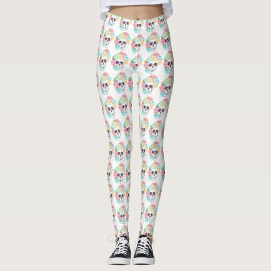 Cute watercolor floral skull leggings