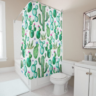 Cute Watercolor Flowering Cactus Patterned Shower Curtain