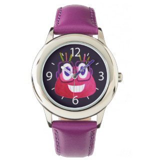 Cute Watercolor Geek Glasses Candy Character Girl Watch