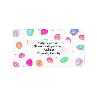 Cute watercolor hand painted donuts foodie pattern address label