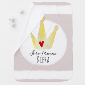 Cute Watercolor Heart Baby Girl Princess with Name Baby Blanket
