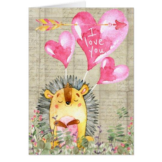 Cute Watercolor Hedgehog Happy Valentines Day Card