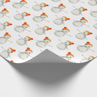 Cute Watercolor Holiday Snowman Pattern Wrapping Paper