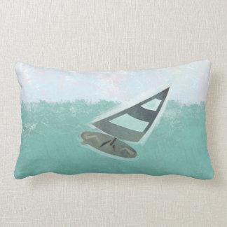 Cute Watercolor Just Surfing Lumbar Pillow