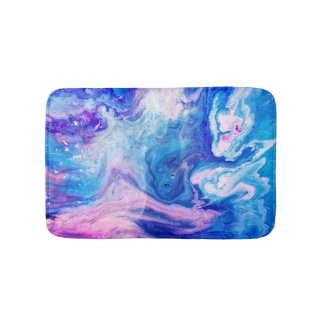 Cute Watercolor Marble Texture Pattern Bath Mat