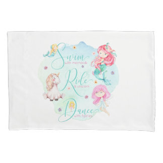 Cute Watercolor Mermaids, Unicorn, Fairies Pillowcase