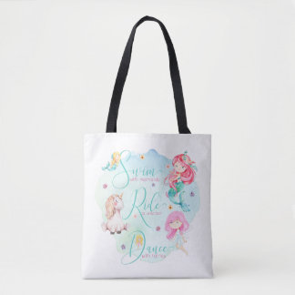 Cute Watercolor Mermaids, Unicorn, Fairies Tote Bag