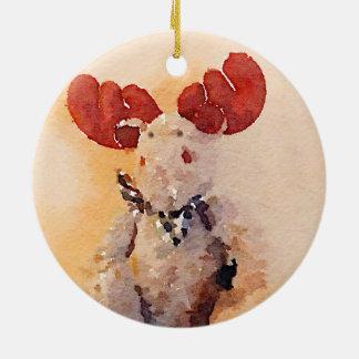 Cute Watercolor Moose Christmas Ornament