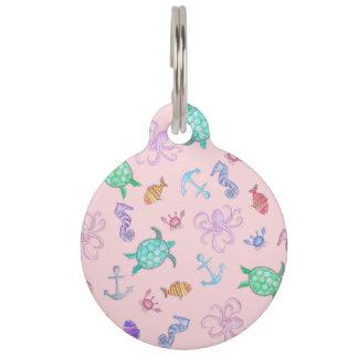 Cute Watercolor Nautical Sea Beach Pattern Pet Name Tag