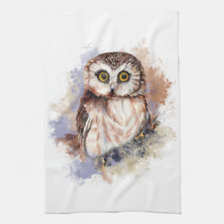 Cute Watercolor Owl Bird Nature art Tea Towel