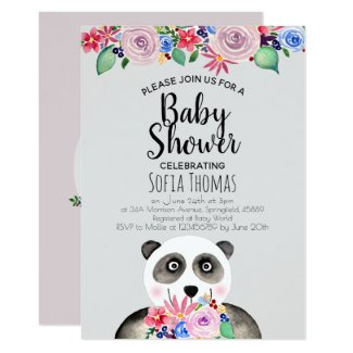 Cute Watercolor Panda Bear and Flowers Baby Shower Invitation
