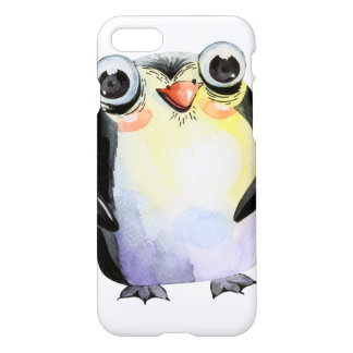 Cute watercolor pinguin with big eyes iPhone 8/7 case