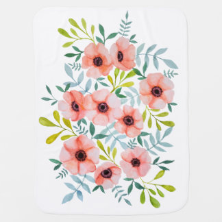 Cute Watercolor Pink Flowers Illustration Baby Blanket