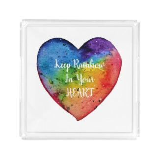 Cute Watercolor Rainbow Heart Acrylic Tray