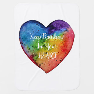 Cute Watercolor Rainbow Heart Baby Blanket