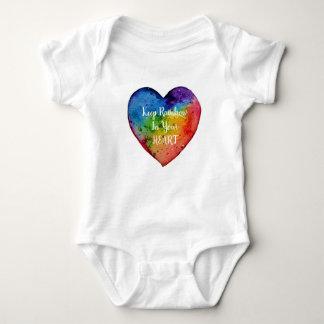 Cute Watercolor Rainbow Heart Baby Bodysuit