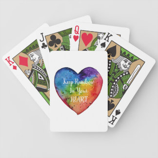 Cute Watercolor Rainbow Heart Bicycle Playing Cards