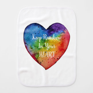 Cute Watercolor Rainbow Heart Burp Cloth