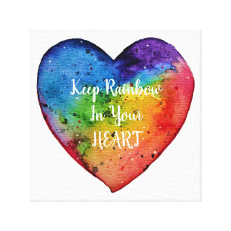 Cute Watercolor Rainbow Heart Canvas Print