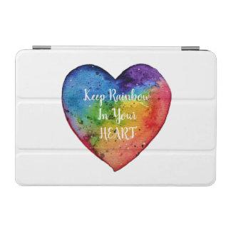 Cute Watercolor Rainbow Heart iPad Mini Cover