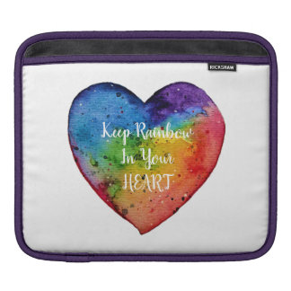 Cute Watercolor Rainbow Heart iPad Sleeve