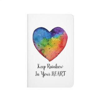 Cute Watercolor Rainbow Heart Journal