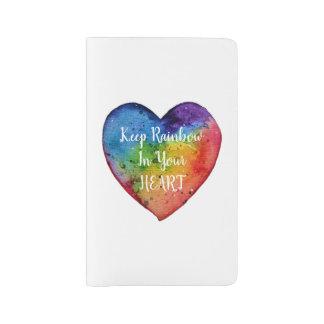 Cute Watercolor Rainbow Heart Large Moleskine Notebook