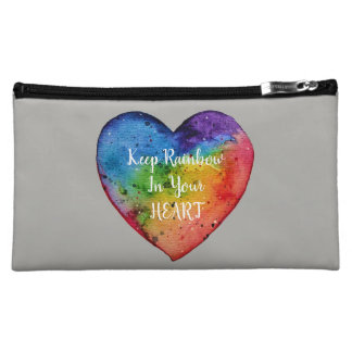 Cute Watercolor Rainbow Heart Makeup Bag