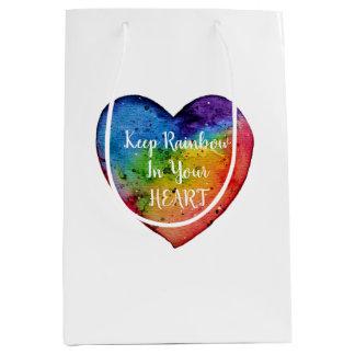 Cute Watercolor Rainbow Heart Medium Gift Bag