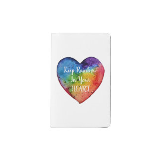 Cute Watercolor Rainbow Heart Pocket Moleskine Notebook