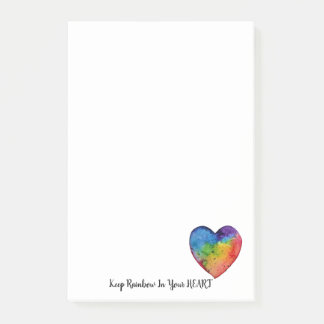 Cute Watercolor Rainbow Heart Post-it Notes